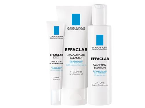 La Roche-Posay Effaclar 3-Step System with three sensitive skin acne products