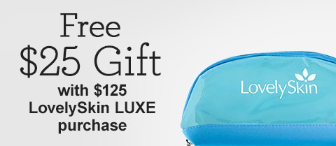 Free $25 LovelySkin Blue Cosmetic Bag!